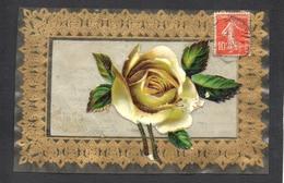CPA FANTAISIE CELLULOID AJOUTIS DECOUPIS CHROMO - DOREE OR - Art Nouveau Art Déco - Fleur Rose Blanche -#480 - Fantaisies