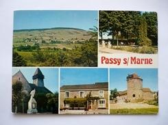 02 -cpsm  Grand Format - PASSY-SUR-MARNE - La Vieille Tour - L'église - Le Café - Le Jardin - Vue Générale - Sonstige Gemeinden