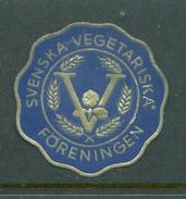 """Svenska Vegetariska Foreningen Foil  Reklamemarke Poster Stamp Vignette Never Hinged 1 1/2"""" Diameter - Cinderellas"""