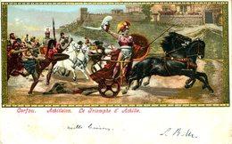 20380 Greece,  CARD CIRCULED 1902 Showing  Achilleion,  Le Triomphe D'achille,    Mythology - Mythologie