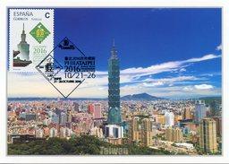 ESPAÑA SPAIN ESPAGNE (2016) - PHILATAIPEI 2016 - TUSELLO Tarifa C - Tarjeta Maxima Maximum Card Taipei 101 - Maximum Cards