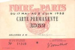 75 - Paris - 5ème Arr - Carte Permanente Pour La Foire De Paris - Arrondissement: 05