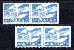 1961 SWEDEN SAS AIRWAYS 2x PAIRS MICHEL: 467DD MNH **