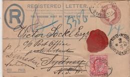 Grande Bretagne Entier Postal  Recommandé Pour L'Australie + Timbre Perforé 1907