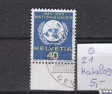 Schweiz  Gestempelt Used  Internationale Organisationen ONU/UNO 21-27 Katalog  21,00