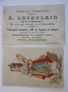AVRANCHES  Café Du Commerce - Estaminet Voyageurs De Commerce - Carte De Visite  Chromo Turqoise - 50 MANCHE - Visitenkarten