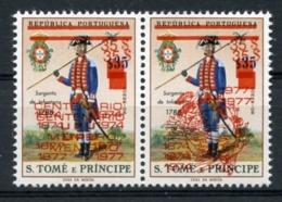 St Thomas And Prince, 1977, UPU Centenary, Double Red Overprint, MNH Pair, Michel 480-481b - UPU (Union Postale Universelle)