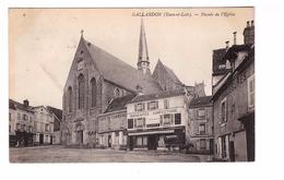 28 Gallardon Façade De L' Eglise Café Du Commerce Attelage Cachet 1909 - Other Municipalities
