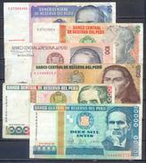 Pérou 6x Billets 1987-1988 Intis - Pérou