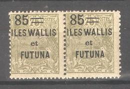 Wallis & Futuna 1925,Surcharged,85c On 75c ,Sc 36 Pair ,VF MNH** Full OG (K-8) - Wallis And Futuna