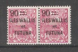 Wallis & Futuna 1927,Surcharged,90c On 75c ,Sc 37 Pair,VF MNH**Full OG (K-8) - Wallis And Futuna