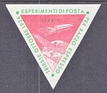 ITALY 1  ZUCKER  ROCKET  MAIL  ITALIA  1  ( TRIESTE )  OCT.  1934 - 1900-44 Vittorio Emanuele III
