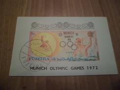 Bloc Non Dentelé Fujeira Vainqueurs  J.O. De Munich Avec Cachet 1er Jour 15 Juillet 1972   Tournoi De Water Polo      TB