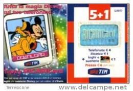 TIM HAPPY RICARICARD DISNEY PLUTO TOPOLINO 5+1 APR 2005 - Italia