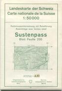 Schweiz - Landeskarte Der Schweiz 1:50 000 - Sustenpass Blatt 255 - Eidgenössische Landestopographie Bern 1965 - Mit Rel - Landkarten