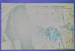 HALTE-LÀ ! UNE RENCONTRE En CORNICHE (envoyé Par Soldat Du 25ème BCA Menton) Vers 1920. - Humour