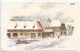 Steige - Villé : Distillerie Artisanale Nusbaumer 1987 (carte Dépliant 3 Vues Aquarelle Géographique Gravue Robert Kuven - Frankreich