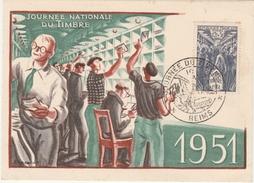 Reims 1951 - Carte Journée Du Timbre - Tri Du Courrier - Maximum Cards