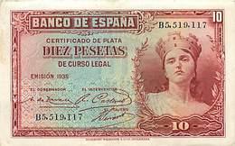 BILLET ESPAGNE 10 PESETAS 1935 - [ 2] 1931-1936 : Repubblica