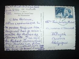 CP Pour BELGIQUE TP CAMILLE FLAMMARION 18F OBL.28?-8-1956 - Marcophilie (Lettres)