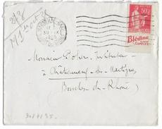 """TYPE PAIX ISSU De CARNET - 1935 - PUB """"BLEDINE"""" ENVELOPPE De MARSEILLE - Advertising"""