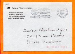 ILLE ET VILAINE, St Malo, Flamme SCOTEM N° 6619, 450e Anniversaire Du Voyage De Jacques Cartier Au Canada - Marcofilie (Brieven)