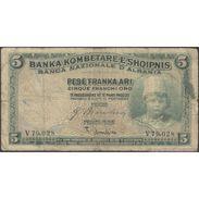 TWN - ALBANIA 2b - 5 Franka Ari 1926 V 79.028 - Signatures: Bianchini & Gambino G+ - Albania