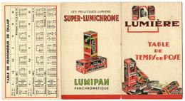 TABLE DE TEMPS DE POSE PELLICULES LUMIERE - LUMIPAN - Photographie