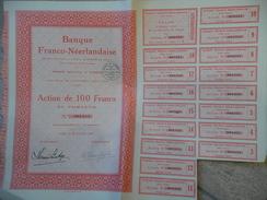 Banque Franco Néerlandaise Action De 100 F 1924 - Banca & Assicurazione