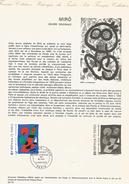 DOCUMENT 1974 OEUVRE DE MIRO - Documents De La Poste