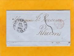 1862 - Lettre Avec Correspondance De Francfort, Frankfurt Vers Reims, France - Entrée Par Forbach, Cad Arrivée - Schleswig-Holstein