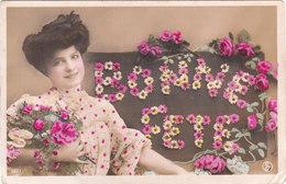 Carte Postale Ancienne Fantaisie - Bonne Fête - Fleurs - Roses - Femme - Autres