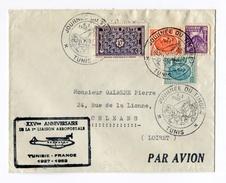 !!! 25E ANNIV 1ERE LIAISON AEROPOSTALE TUNISIE - FRANCE - Tunisie (1888-1955)