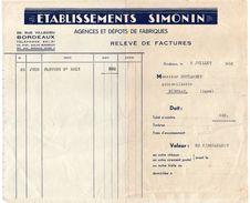 Facture--1952--BORDEAUX-Ets SIMONIN Pour Quincaillerie Bustarret - RIBERAC-24 - France