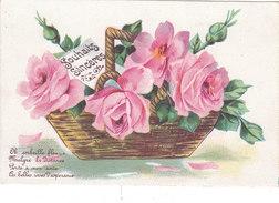 Carte Postale Ancienne - Fantaisie - Panier De Fleurs - Roses - Fantaisies