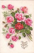 Carte Postale Ancienne - Fantaisie - Fleurs - Roses - Bonne Fête - Fantaisies