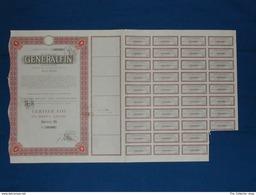 """Certificato 10 Azioni """"generalfin"""" Milano 1962 - Banque & Assurance"""