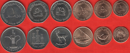 United Arab Emirates (UAE) Set Of 6 Coins: 1 Fils - 1 Dirham 1973-2014 UNC - Emirats Arabes Unis