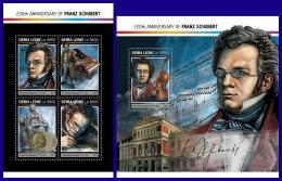SIERRA LEONE 2017 ** Franz Schubert Composer Komponist Compositeur M/S+S/S - OFFICIAL ISSUE - DH1714 - Music