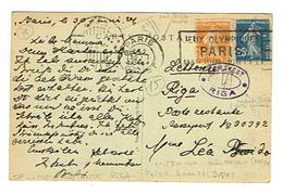 PARIS 1924 Cachet Jeux Olympiques Sur Cpa Affranchie Pour Riga