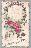 Carte Postale Ancienne - Fantaisie - Fleurs - Roses En Tissus - Paillettes - Fantaisies