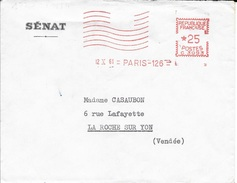 EMA - 1961 - PARIS 126 - 8 LIGNES ONDULEES DONT 3 SUPERIEURES COUPEES - *25 - N° C.3093-  EN ROUGE- - Postmark Collection (Covers)