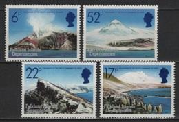Falkland Dep. (1984) Yv. 137/40  /  Vulcan - Volcano - Volcanoes - Volcan - Volcanes - Pinguins - Vulkanen
