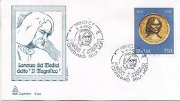 ITALIA - FDC  CAPITOLIUM 1992 -  LORENZO IL MAGNIFICO - ARTE - ANNULLO SPECIALE FIRENZE - F.D.C.