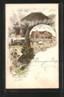 Lithographie Inselsberg, Gothaisches Hotel, Thorstein, Zwerg - Gotha