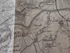 1900 - Grande CARTE Des PYRENEES-ORIENTALES Allant De THUIR à CERET Et De SALEILLES à PORT-VENDRES - Historische Dokumente