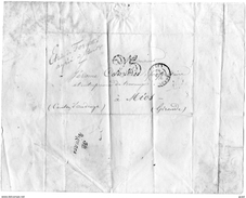 FRANCE MARQUE POSTALE LETTRE ENVELOPPE PLI BORDEAUX BIGANOS MIOS JUIN 1852 LETTRE A JEROME COURBIN - Marcophilie (Timbres Détachés)