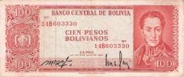 BOLIVIE   100 Pesos Bolivianos   L. 13/7/1962   (Sign Var.)   P. 164A - Bolivie