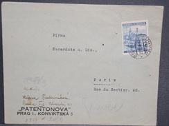 BOHÈME ET MORAVIE - Enveloppe Commerciale Pour Paris Avec Contrôle Postal - L 6489 - Bohême & Moravie