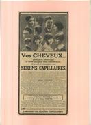FRANCE 75 . SERUMS CAPILLAIRES  . PUB  DES ANNEES 1920 . DECOUPEE ET COLLEE SUR PAPIER . - Publicités